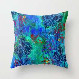 In Too Deep - Blue Abstract Flowers Throw Pillow