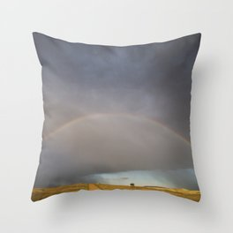 Rainbow after the Storm - Badlands National Park Throw Pillow