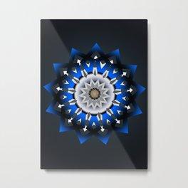 Ornament 3D Blue Modern Metal Print