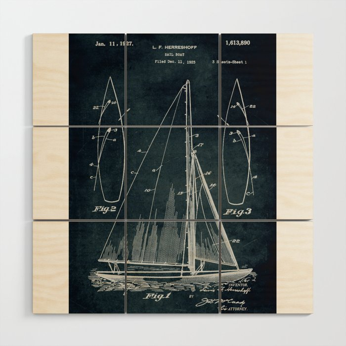 1925 Sail boat patent art Wood Wall Art