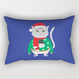 The isolated cute cat wearing a silly winter sweater Rectangular Pillow