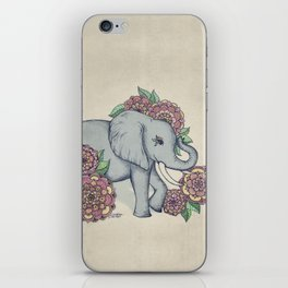 Little Elephant in soft vintage pastels iPhone Skin