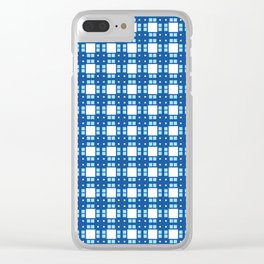Sky Blue Cell Checks Clear iPhone Case