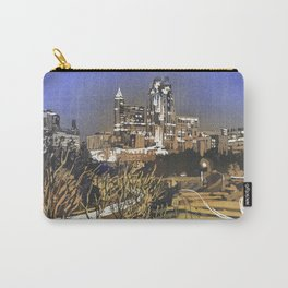Watercolor painting of skyline of downtown Raleigh, NC at sunrise.  Watercolor painting Raleigh Carry-All Pouch