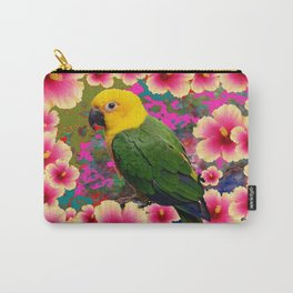 YELLOW HEADED GREEN PARROT PINK HIBISCUS KHAKI FLORAL Carry-All Pouch