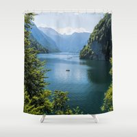 germany Shower Curtains featuring Germany, Malerblick, Koenigssee Lake III by UtArt