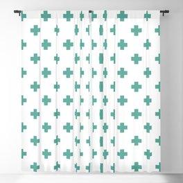 Green Blue Swiss Cross Pattern Blackout Curtain