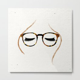 Tortoiseshell Glasses Red Metal Print