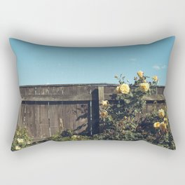 Yellow flowers over a wooden fence Rectangular Pillow