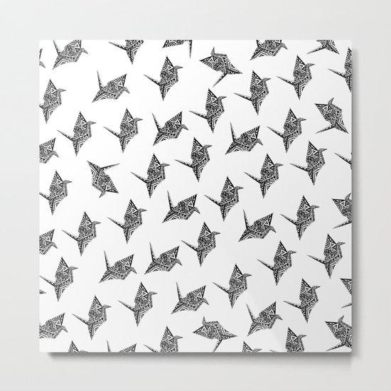 Paper Crane Bird Origami Doodle Pattern Metal Print
