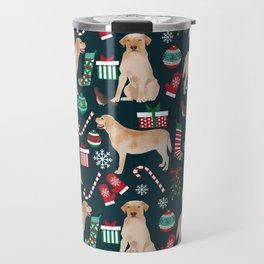 Yellow Labrador retriever christmas festive holiday gifts for dog person dog lover labrador retrieve Travel Mug