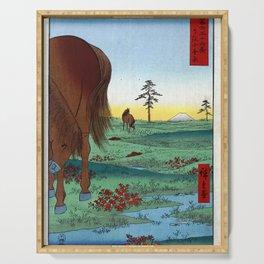 Hiroshige - 36 Views of Mount Fuji (1858) - 33: Kogane Plain in Shimōsa Province Serving Tray