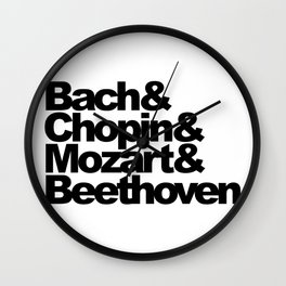Bach and Chopin and Mozart and Beethoven Wall Clock