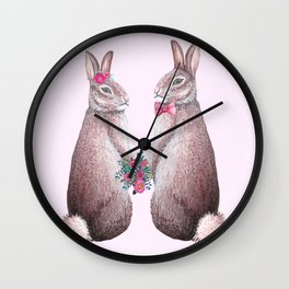 Rabbits in love, bride and groom, watercolor, wedding, engagement, romantic Wall Clock