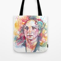 river Tote Bags featuring River by Alice X. Zhang
