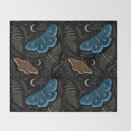 Moths and Ferns Throw Blanket