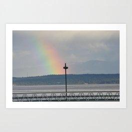 Rainbow over the Denman Dock 2 Art Print