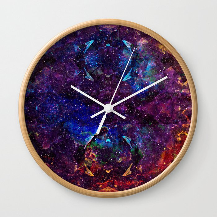 rainbow aura quartz nebulÆ wall clock by aaroncarberry society6