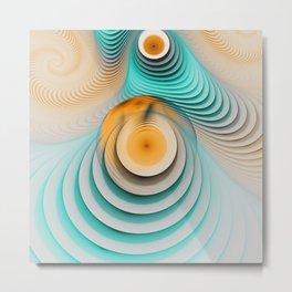 Creamy Beige-Teal Plateaus & Eggyolk Spiral Circles Metal Print