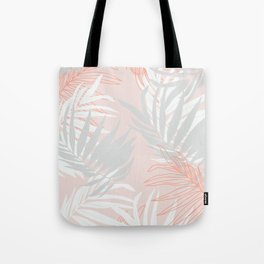 Pink and gray minimalist leaf Tote Bag