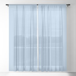 Placid Blue Pastel Solid Color Block Sheer Curtain