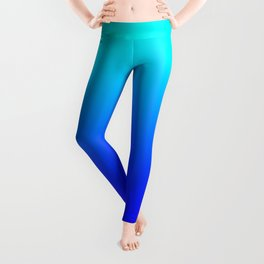 Aqua Blue Bright Ombre Leggings