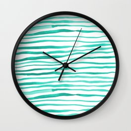 Irregular watercolor lines - turquoise Wall Clock