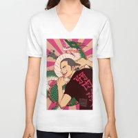 haikyuu V-neck T-shirts featuring dragon by JohannaTheMad