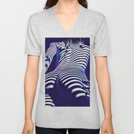 2020s-AK Sensual Blue Striped Woman from Behind Unisex V-Neck