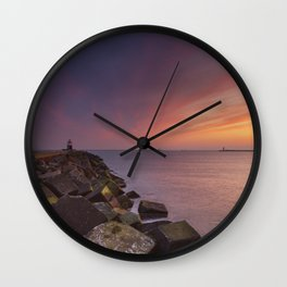 I - Sunset over harbour entrance at sea in IJmuiden, The Netherlands Wall Clock