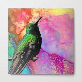 Green Hummingbird & Watercolor Accents Metal Print