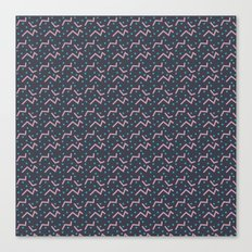 Funky pink line and dot pattern Canvas Print
