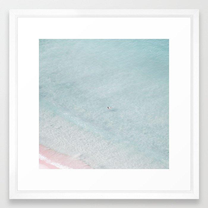 beach - the swimmer Framed Art Print