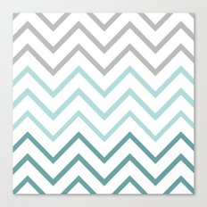 THIN TEAL CHEVRON FADE  Canvas Print