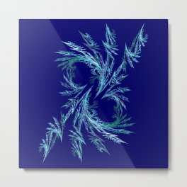 Delicate ornaments in blue Metal Print