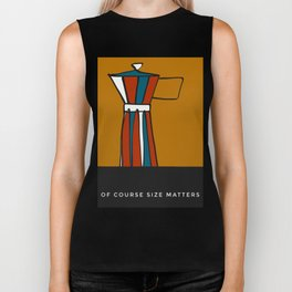 """Beloved moka- with caption """"Of course size matters"""" Biker Tank"""