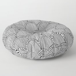 Hand Drawn Doodle Pattern Floor Pillow