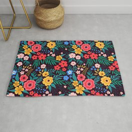 25 Amazing floral pattern with bright colorful flowers. Dark background. Rug
