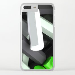 Pile of black, white and green hexagon details Clear iPhone Case
