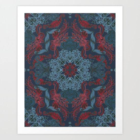Vintage Fancy - a Pattern in Deep Teal & Red Art Print