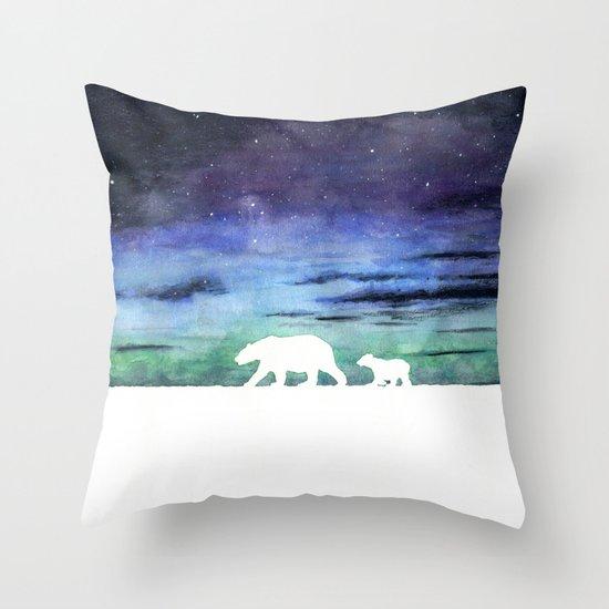 Aurora borealis and polar bears (white version) Throw Pillow by Savousepate Society6
