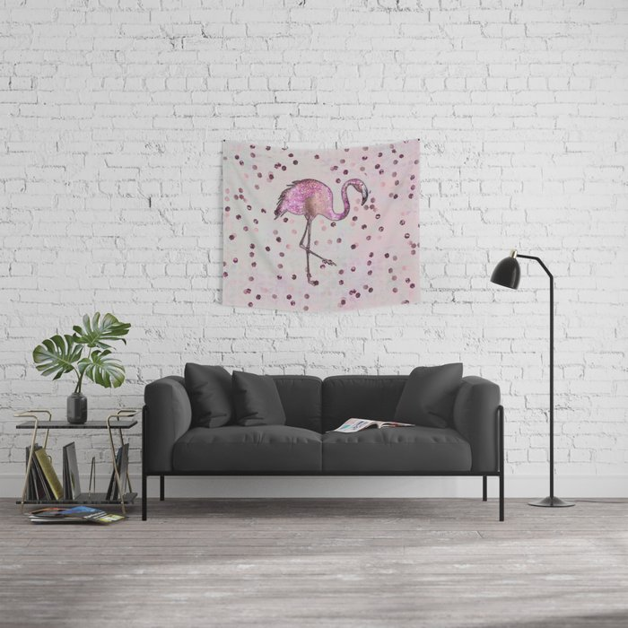 Glamorous Flamingo pink and rose gold sparkle Wall Tapestry