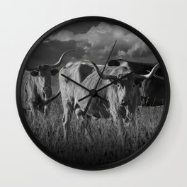 Texas Longhorn Steers under a Cloudy Sky in Black & White Wall Clock