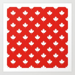 Large Reversed White Canadian Maple Leaf on Red Art Print