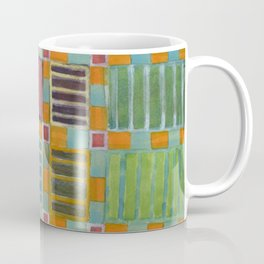 Orange-Turquoise Grid with different Fillings Coffee Mug