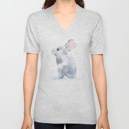 Gray Bunny Rabbit Watercolor Painting Unisex V-Neck