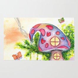 Mushroom House Watercolor Painting Rug