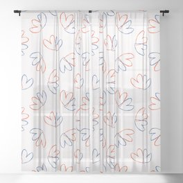 Brush Stroke Lovers Hearts Tossed Seamless Pattern Sheer Curtain