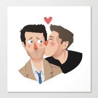 destiel Canvas Prints featuring Destiel kisses by Mack Robles