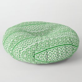 Green and White Classic Nordic Christmas Pattern Floor Pillow
